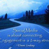 Elaine Lindsay says social-engagement-2way-street ©2014 -Social Media & Search Optimization Training