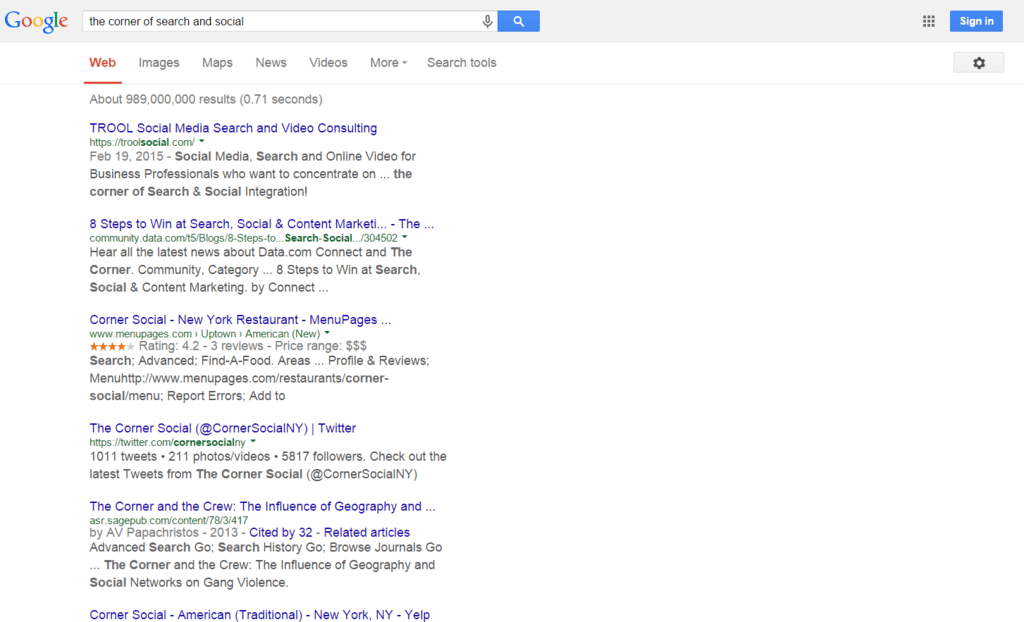 TROOL Social Media is #1 out of 989 Million possible results in under 10 days