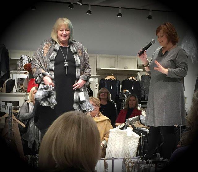 Cashmere and mink shawl Brynn walker Asymentric dress Simplii leggings Flexx Wedge